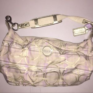 Coach lavender & gold plaid print purse